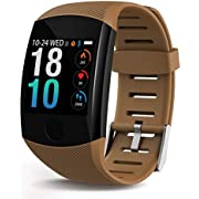 SmartWatch, Health & Fitness Tracker Smartwatch Heart Rate Monitor Blood Pressure Activity Watch,Sleep Monitor Pedometer Calls SMS Notification Remote Camera Music For iOS Android (Coffee)