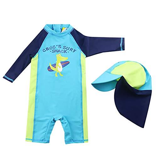 AMIYAN Kinder Baby Jungen Schwimmanzug Bademode Einteiler Badeanzug UV-Schutz-Badebekleidung Mit Badekappe (Höhe 80-90cm)