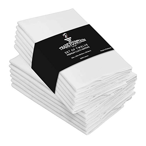 Trade Fountain Cloth Napkins Set of 12 Cotton - 50 X 50 CM Reusable Napkins - Oversized Cotton Napkins Made of Pure Cotton Fabric - Used as Dinner Napkins (WHITE, NAPKINS)