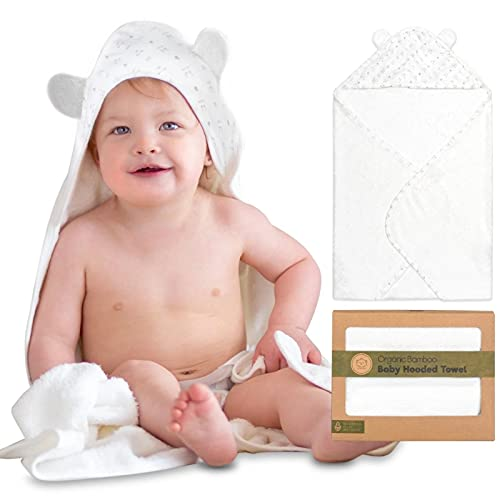 Organic Baby Bath Hooded Towel - Large 35X35 Bamboo Baby Towels - 500GSM Bamboo Baby Towel - Shower Towels with Hood for Boys, Girls - Baby Towel Set for Newborn, Infant, Toddlers, Kids (KeaStory)