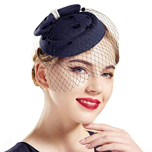 BABEYOND Women's Pillbox Fascinators Hat Headband Tea Party Fascinator Hat Veil Kentucky Derby Hat for Cocktail (Navy Blue)