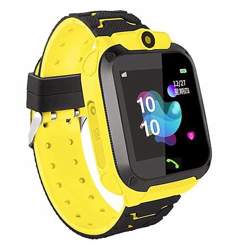 Smartwatch Niños, Reloj Inteligente Niña IP67, LBS, Hacer Llamada, Chat de Voz, SOS, Modo de Clase, Cmara, Juegos, Regalo para Niños de 3-12 años, soporta 2G tarjetáas Micro SIM (Amarillo)