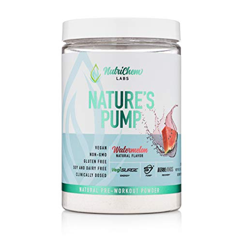 Nature's Pump Plant Based Pre Workout - All Natural Vegan & Keto Pre Workout for Increasing Clean Energy & Focus, Nitric Oxide Booster & Performance - Brain Nootropic, BCAAs for Recovery- 20 Servings