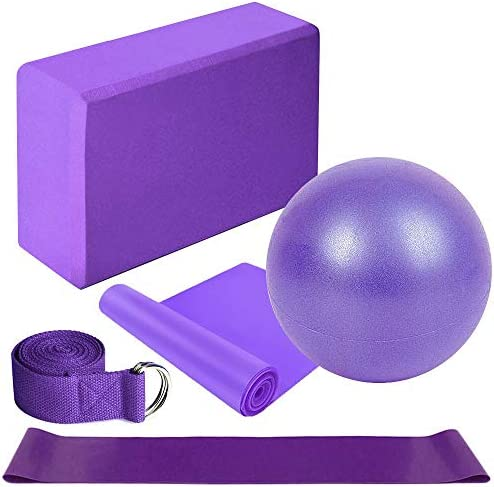 Lixada Yoga Ball Chair 5Pcs Yoga Equipment Set Include Yoga Ball Yoga Blocks Stretching Strap Resistance Loop Band Exercise Band(Optional)