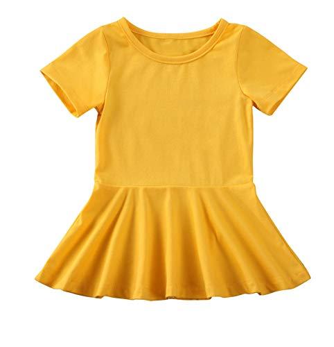 doublebabyjoy Summer Clothes Short Sleeve One-Piece Dress Ruffle Hem Short Skirt Solid Princess Dresses (Yellow, 2-3 Years)