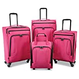 American Tourister 4 Kix Expandable Softside Luggage with Spinner Wheels, Pink, 4-Piece Set (RT/21/25/28)