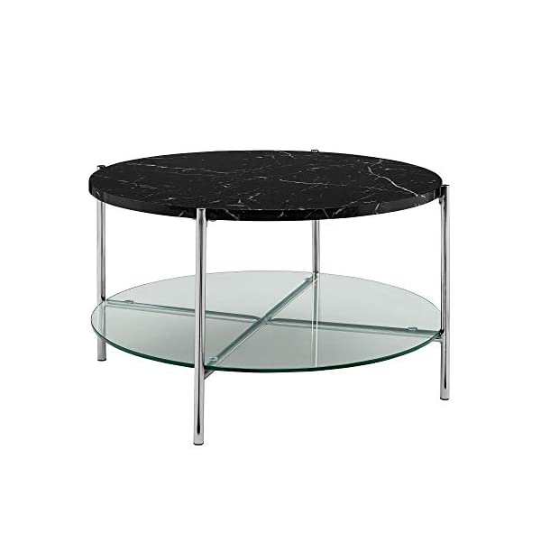 Walker Edison Furniture Company Modern Round Side End Accent Table Living Room, Marble/Gold & End Accent Table Living…