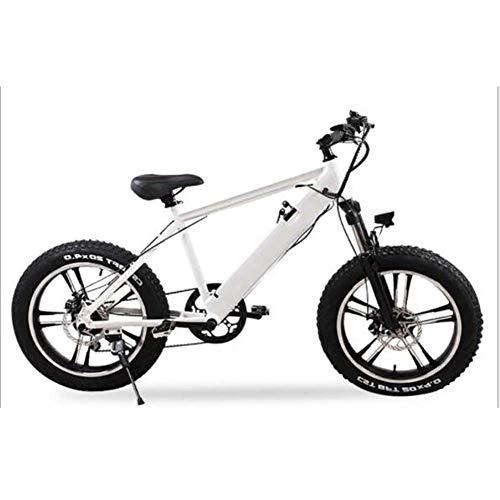FZYE 20 Pulgadas Bicicleta Eléctrica, 4.0 montaña neumáticos gordos Bike Batería Iones Litio 48V 10A Pantalla LCD Bicicletas Deportes Aire Libre Ciclismo,Blanco
