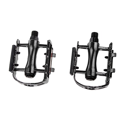 SM SunniMix Par de Pedales Bicicleta Aleación de Aluminio Plataforma Plana - Negro, 11 x 8,5 x 3,1 cm