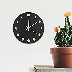 "MAXROCK Luminous Moon Phase Wall Clock, 12"" Non-Ticking Silent Clock, with Black Dial, Boho Home Decor Wall Hanging Modern Clock for Rustic Farmhouse Office Bedroom,Battery Operated"