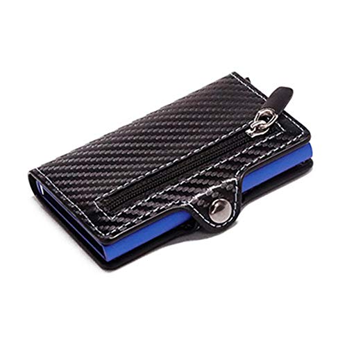 USNASLM monedero RFID metal titular de la tarjeta botón monedero protección moda fibra de carbono cartera hombres delgada cartera antirrobo tarjeta caso