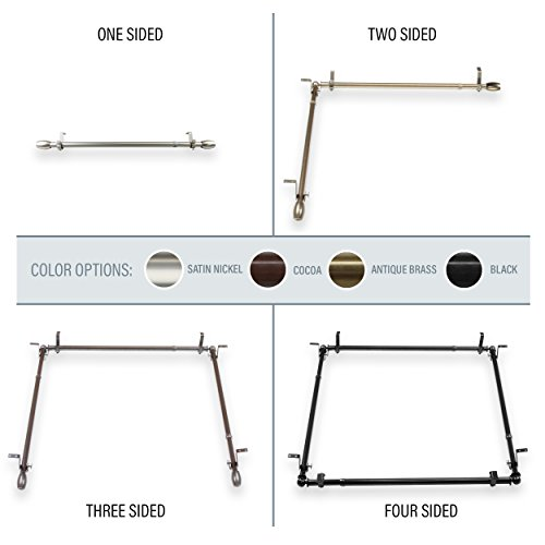A&F Rod Décor - Caleb Multi-Angle Room Divider/Bedroom Canopy/Ceiling Rod Adjustable 66-120 inch Three Sided - Satin Nickel