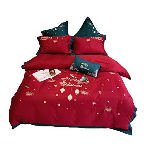 NAFE Juego de sábanas – Juego de sábanas de 4 piezas – Juego de sábanas de microfibra de fácil cuidado, diseño de Navidad