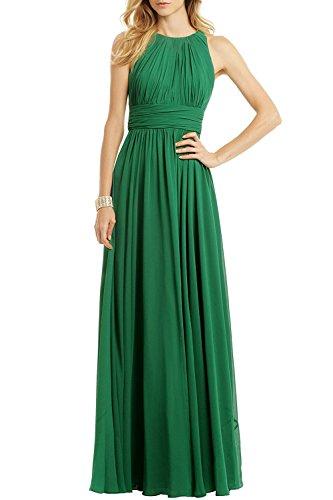Ssyiz Damen Abendklein rundhals Chiffon A-linie Brautjungfern-/Ballkleid Gr. 36, grün