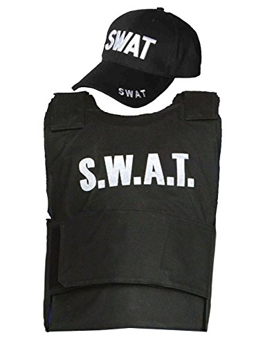 Children Boys Girls SWAT TEAM Vest & Cap Costume Outfit 5-10 Yrs Fake Bulletproof World Book Day/Week by FNA Fashions