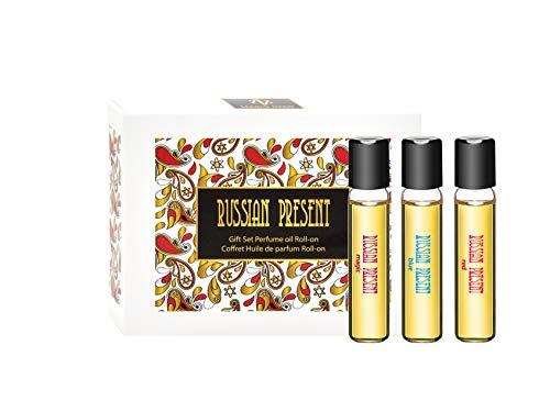 RUSSIAN PRESENT Parfüm Öl für Damen - 3 x 5 ml Roll-on Miniatur - Parfüm als Make-Up (GIFT SET)