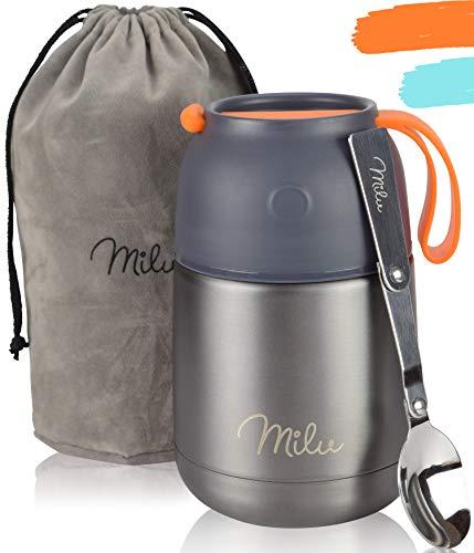 Milu® Thermobehälter 450, 650ml | Edelstahl Warmhaltebehälter | Essensbehälter | Speisegefäß Baybnahrung | Essen warmhalten Behälter | Thermo Lunchbox | Müsli to go | (Grau, 450)