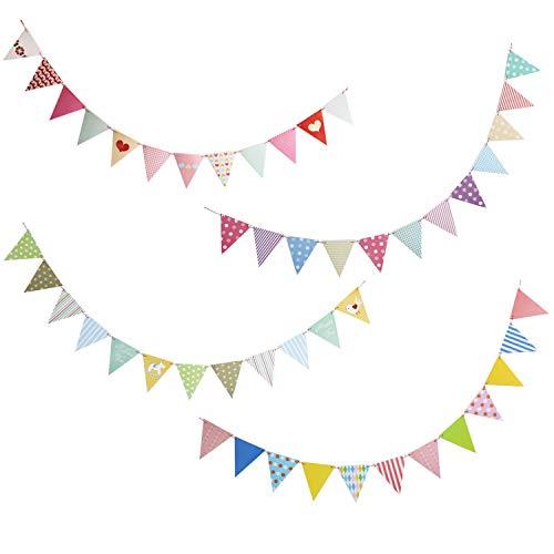 WELLXUNK Wimpelkette 4 Stück Wimpel Wimpelkette Outdoor Wimpelkette Papier Girlanden Bunt Deko für Hochzeit Party Kinderzimmer Geburtstag Gartenparty (5m 12 PCS Wimpel Jede Girlanden)