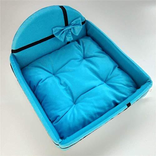 GUOXY Lindo cojín nido de casa para mascotas con colchoneta para perros pequeños, medianos y cálidos, colchón extraíble, cama para gato, perro, perrera, azul, pequeño