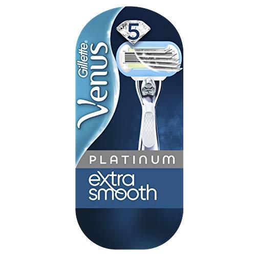 Gillette Venus Platinum Extra Smooth Rasierer Damen, gründliche und sichere Rasur, Damenrasierer + 1 Rasierklinge