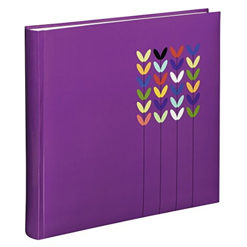 Hama Fotoalbum Blossom, Jumbo Album mit 80 weißen Seiten, für 320 Fotos im Format 10x15, Blüten-Muster, 30x30, XL Fotobuch lila