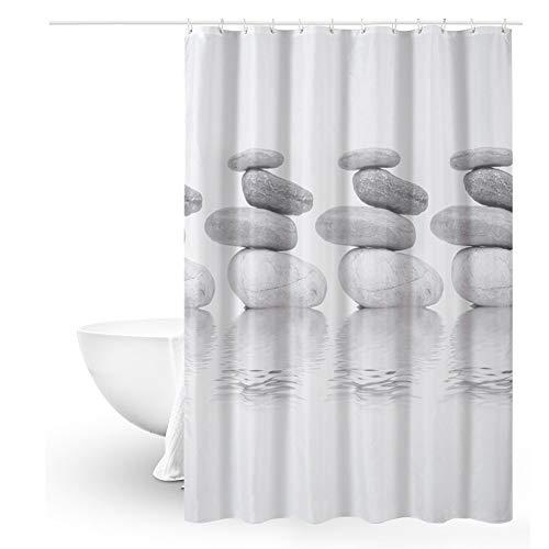 Queta Duschvorhang Anti-Schimmel Badewanne Vorhang120x180 Wasserdichter Shower Curtain mit 12 Duschvorhangringen (Mittlerer Steine)
