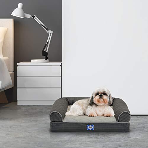 "Sealy Ultra Plush Sofa-Style Bolster Orthopedic Dog Bed Gray Small (20"" x 25"")"