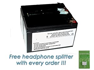 APC SmartUPS 700RM Battery Cartridge - Maintenance-free APC RBC9 RBC 9 Premium DS Miller Replacement with FREE Headphone Splitter