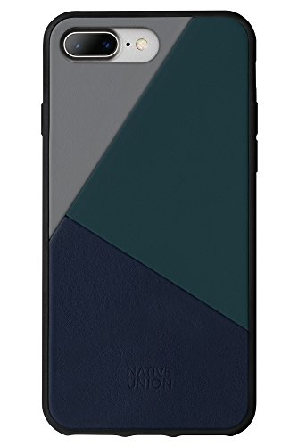 Native Union CLIC Marquetry Custodia - Cover in Vera Nappa Italiana - Compatibile con iPhone 7 Plus, iPhone 8 Plus (Petrol Blue)