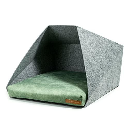 R Exproduct Pocket - Caseta para Perros de Tela ecológica de Pet, Resistente a los arañazos, Gris Claro y Verde Claro (60 x 45 x 63 cm)