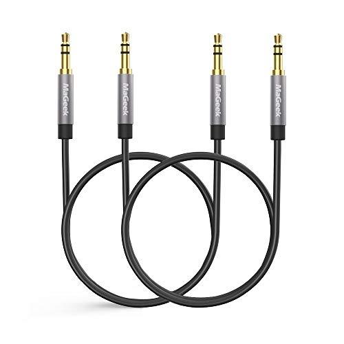 MaGeek Cable Jack 3.5 mm, (0,5 Metros, Pack de 2) Cable de Audio Estéreo Macho Macho para Auriculares, iPhone,iPod, iPad, Car Audio, Home Stereo y más. (Negro)