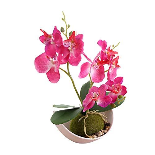 Flikool 3 Ramas Orquídeas Artificiales con Maceta in Plástico Bonsai de Phalaenopsis Flores Artificial Plantas Artificiales de Flor Mariposa para Hogar Balcón Partido Oficina Decoración - Rose