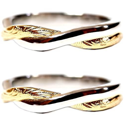 ペアリング ペアハワイアンジュエリー リング 指輪 スクロール プルメリア サージカルステンレス 花 写真フレーム フラワー ゴールド レディース:7号 メンズ:13号