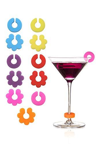 Hocaies Glasmarkierer Set BPA-freiem Glasmarkierer Silikon Einzigartig und Wiederverwendbare 12 Stück Party Weinglas Markierer.