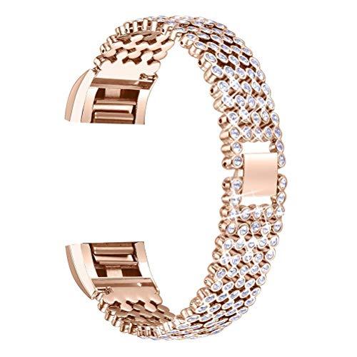 ibasenice Smartwatch-Bänder, Metall-Bänder, kompatibel mit Fitbit Charge 2, Edelstahl, Kristall, Sportarmband, verstellbares Armband für Damen und Herren (Roségold)