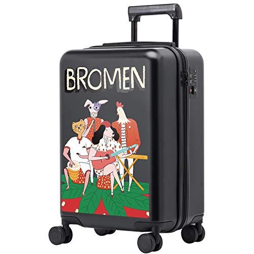 20-Zoll-Koffer weibliche Kinder Trolley Universalrad Internat klein klein kühlen Eltern-Kind-Box Koffer Koffer auf Rädern (Farbe : Black, Größe : 20 inch)