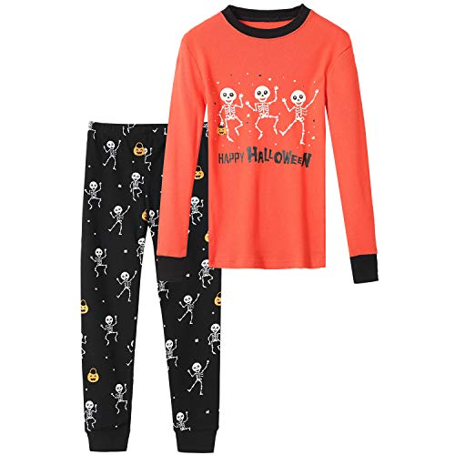 Boys Halloween Pajamas Size 7 Skeleton Glow in The Dark Pjs for Boys 7t 100% Cotton Pj Sets Kids Sleepwear Jammies Clothes Medium, 6-7 Years Old, Orange