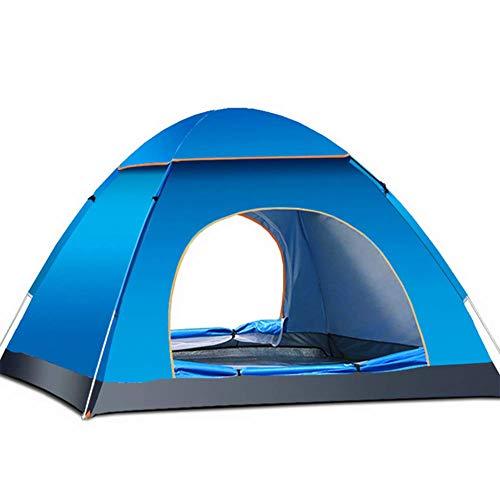 HW Tienda De Campaña para 3-4 Personas Material Resistente A Prueba De UV/Viento Fuerte/Lluvia Buena Ventilación con Doble Puerta con Bolsa Fácil Montaje para Aire Libre,Blue