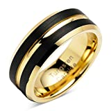 Tungsten Rings for Mens Wedding Bands Black Matte Gold Grooved Center Size 6-16 (tungsten, 10)