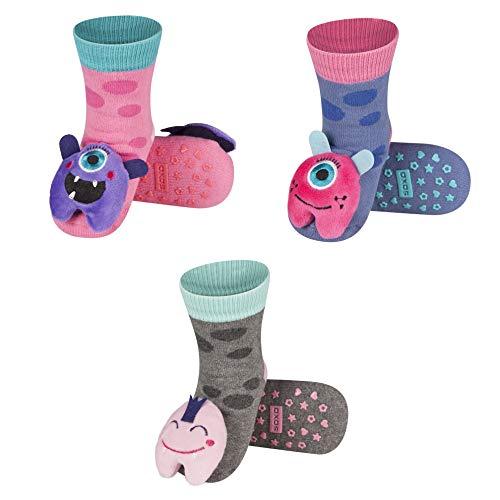 soxo Calcetines Antideslizantes de Color para Bebe | Paquete de 3 | Talla 19-21 | para Niñas y Niños de 12 a 24 Meses | Calcetines Sonajero Animales de Algodón | Antialérgicos y no Irritan la piel