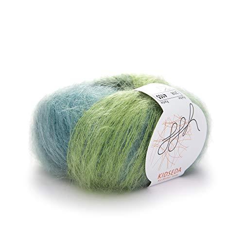 ggh Kidseda, Farbe:208 - Grüntürkismeliert, Mohair, Seide Mischung, 25g Wolle als Knäuel, Lauflänge ca.210m, Verbrauch 125g, Nadelstärke 4-5, Stricken