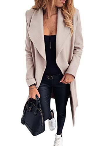 ORANDESIGNE Femme Blazer Élégant Manches Longues Slim Fit OL Bureau Affaires Veste De Costume Devant Ouvert Manteau Long Parka Overcoat Trench Coat Beige 48