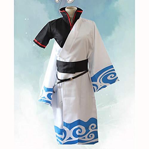 ULLAA Gintama Sakata Gintoki Anime Cosplay Erwachsene Kostüm Kimono Bademantel Stehkragen Design Unsichtbarer Reißverschluss Fünfteilig Bier Festival Weihnachten Halloween,M
