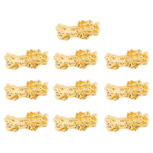 Yushu 10 piezas de oro de la riqueza porsperidad Pi Xiu cuentas Pi Yao encanto pulsera joyería haciendo cuentas pulseras para buena suerte riqueza