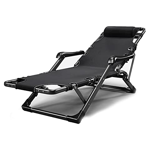 Thomm Portable Chaise, With Massage Armrest, Headrest, Adjustable Lounge Chair, For Camping Pool Beach Outdoor, Support 550 lbs, Black (Color : Black)