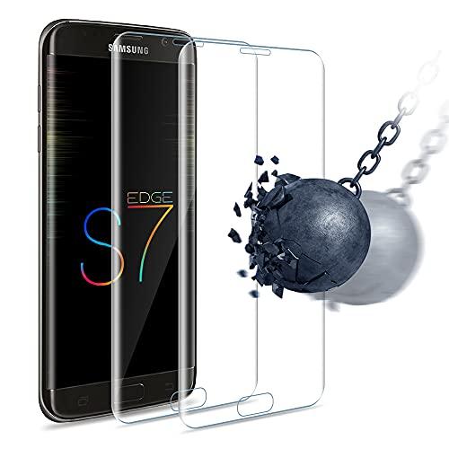 Carantee 2 Stück Panzerglas Schutzfolie für Samsung Galaxy S7 Edge, [HD Klar] [Anti-Kratzen] [Anti-Fingerabdruck] [Ultradünn], Gebogene Kante Panzerglasfolie Displayschutzfolie
