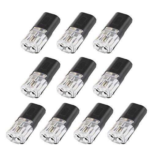 10 piezas de bloque de terminales de doble cable rápido de 2 pines sin pelar, diseño tipo empuje, conectores de tipo I negro para cable de calibre 18-22 AWG