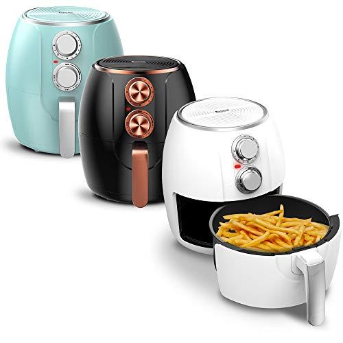 Heißluftfritteuse 3 Liter, Timer bis 30 Minuten, 1200W, Öl-und Fettfrei, 90-210°C, Cool-Touch, Air Fryer, Retro-Design Hellblau