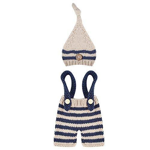 La Cabina Accessoires Photographie de Bébé Vêtement de Baptême Bébé Vêtement Bébé de Photographie Tricoter Chapeau+ Costume 2PCS pour Photographie des Nouveau-nés (0-2 Mois)