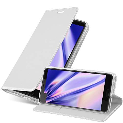 Cadorabo Hülle für HTC U Ultra - Hülle in Silber – Handyhülle mit Standfunktion & Kartenfach im Metallic Erscheinungsbild - Hülle Cover Schutzhülle Etui Tasche Book Klapp Style